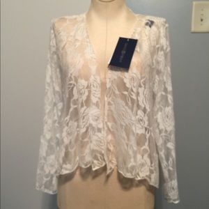SMSS white rose print soft lace cardigan